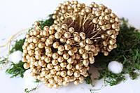 Глянцеві ягоди (калина)500 шт/уп. 0,7 см діаметр, золотого кольору оптом