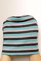 Шапка черно-серо-мятная в полоску, зимняя