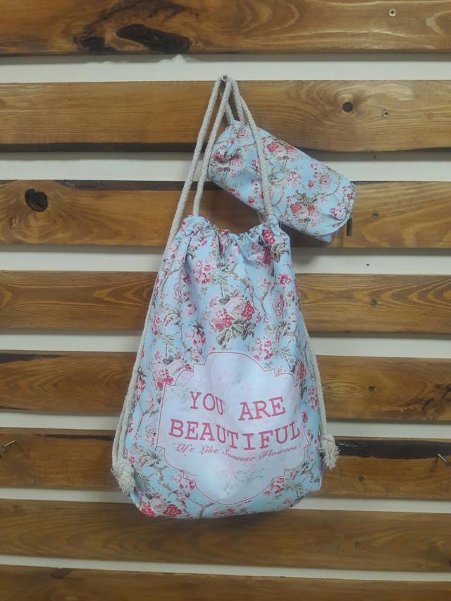 Школьный рюкзак в цветах с пеналом