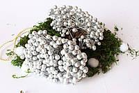 Глянцевые ягоды (калина) 500 шт/уп. 0,7 см диаметр, серебристого цвета оптом НГ, фото 1