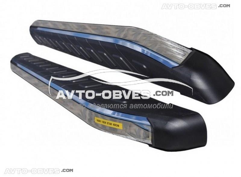 Подножки для Nissan Qashqai 2+ с окантовкой из нержавейки (стиль Range Rover Sport)