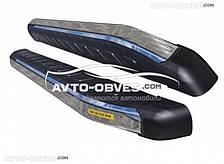 Подножки боковые площадки для Ауди Кю7 с окантовкой из нержавейки (стиль Ренж Ровер Спорт)
