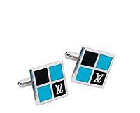Запонки Louis Vuitton, серебристые, квадратные