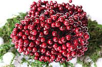 Глянцевые ягоды (калина)500 шт/уп. 0,7 см диаметр, бордового цвета оптом, фото 1