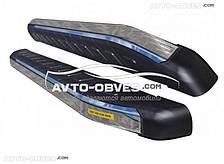 Пороги подножки площадки для Хонда ЦРВ 2013-2016 с окантовкой из нержавейки (стиль Ренж Ровер Спорт)