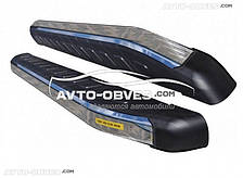 Подножки боковые площадки Митсубиши Аутлендер XL с окантовкой из нержавейки (стиль Ренж Ровер)