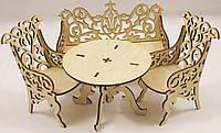 """Набор мебели """"диван + 2 кресла + стол"""" резной для Барби (кукол до 30см), фото 1"""