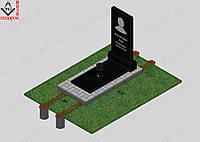 Памятник одинарный с установкой №2 + плита