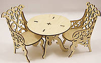 """Набор мебели """"Стол + кресла"""" резной для Барби (кукол до 30см)"""