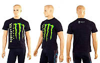 Футболка спортивная MONSTER ENERGY CO-5075 (х-б, р-р M-L, черный)