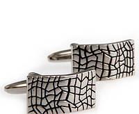 """Запонки """"Имитация трещины"""", серебристые, прямоугольные"""