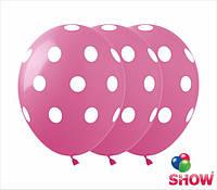 """Латексные воздушные шарики горох на розовом 12"""" (50 штук)  ТМ Show"""