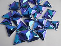Стразы пришивные Треугольники 16мм. Акрил Sapphire AB