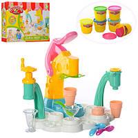 Набор пластилин мороженое 6 цветов в баночке с крышкой аппарат пресс и посуда