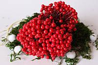 Глянцевые ягоды (калина) 500 шт/уп. 0,7 см диаметр, красного цвета оптом НГ