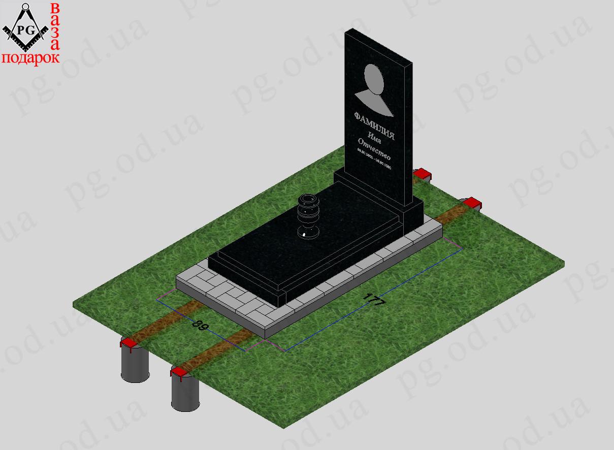 Памятник одинарный с установкой №2 + плита на цветнике