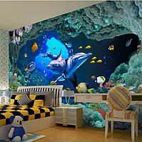 """Фотообои """"Дельфины в подводных скалах"""", текстура песок, штукатурка"""