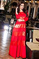 Платье шикарное в пол с атласными полосками ярко-красный