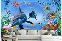 """Фотообои """"Дельфины с рыбками"""", текстура песок, штукатурка"""