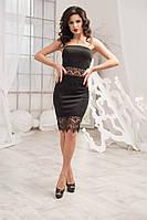 """Элегантное черное платье """"Парус"""" с кружевом"""
