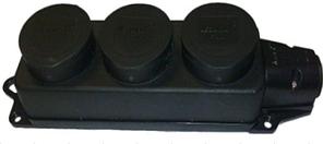 Колодка (розетка) LEZARD тройная с заглушками (каучук) 106-0400-101