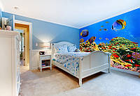 """Фотообои """"Подводный мир в спальне"""", текстура песок, штукатурка"""