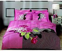 Постельное белье Tac Saten Avalon розовое евро размера