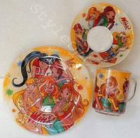 Детский набор посуды Winx, 3 предмета
