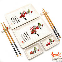 Оригинальный набор посуды для суши и роллов Птичка