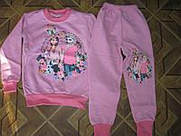 Детский теплый  домашний костюм Эльза  2-х нитка на байке  для девочки 4, 6 ,8 лет Турция