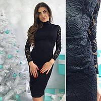 Черное гипюровое платье с открытой спиной