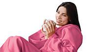 Очень теплый плед с рукавами, розовый, текстиль, сделано в Украине