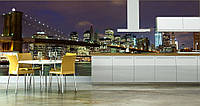 "Фотообои ""Манхэттенский мост на кухне"", текстура песок, штукатурка"