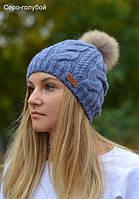 Зимняя шапка на флисе с натуральным енотом Джульетта, размер 54-57 см