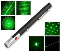 Зеленая лазерная указка, на батарейках, хит продаж!!!5 насадок, лазер зеленый