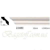 Карниз(плинтус) потолочный гладкий Classic Home 2-0480, лепной декор из полиуретана