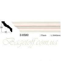 Карниз(плинтус) потолочный гладкий Classic Home 2-0580, лепной декор из полиуретана