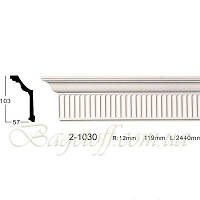 Карниз(плинтус) потолочный гладкий Classic Home 2-1030, лепной декор из полиуретана