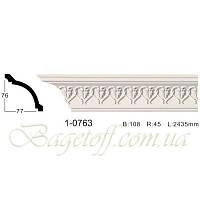 Карниз(плинтус) потолочный с орнаментом Classic Home 1-0763, лепной декор из полиуретана