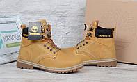Ботинки зимние кожаные Timberland yellow boots на меху, Желтый, 36