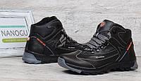 Ботинки мужские зимние кожаные Swiss Switzerland черные на меху, Черный, 42
