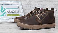 Ботинки мужские зимние кожаные Montana casual brown на меху, Коричневый, 40