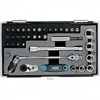 """Набор бит и головок торцевых, 1/4"""", карданный ключ, трещотка, адаптер, S2 37 шт. GROSS"""