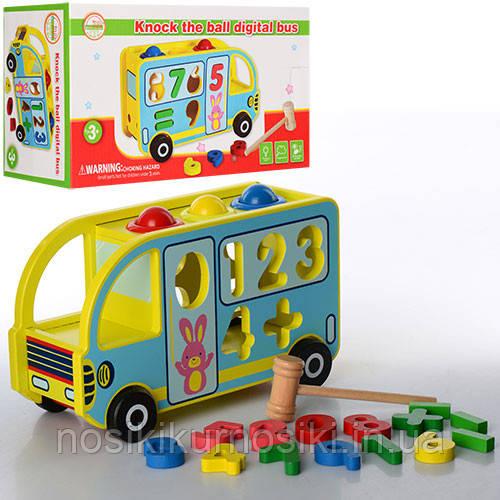 Деревянная игрушка Сортер стучалка каталка Автобус