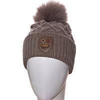 Женская вязаная шапка с бубоном