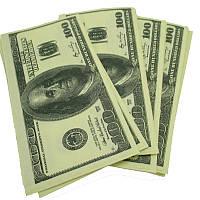 """Салфетка для декупажа """"100 долларов"""", размер 33*33 см, трехслойная"""