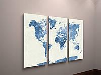 Настінний декор Картина фотодрук на холсті Карта світу Континенти планети 90х60 з 3х модулів