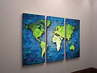 Абстрактная модульная картина на холсте Карта мира Планета Континенты 90х60 из 3х частей