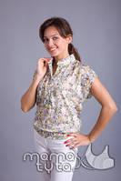 Блуза из батиста с топом, зеленая