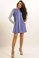 Замшевое платье А-силуэта в полуспортивном стиле удлиненный рукав с вырезом для пальца 42-52 размер